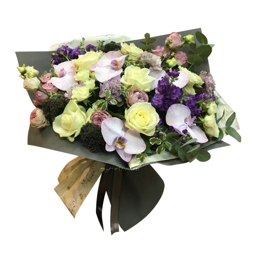 Букет цветов для руководителя мужчины купить киев, фиолетовые